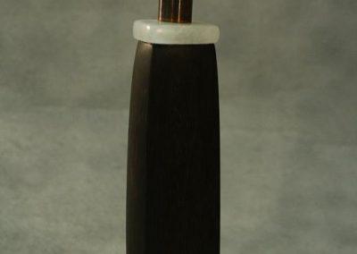 Zwarte profeet-2009-marmer,moereik,koper,albast-33 cm